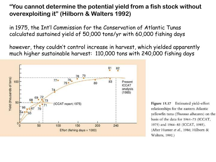 """""""You cannot determine the potential yield from a fish stock without overexploiting it"""" (Hilborn & Walters 1992)"""
