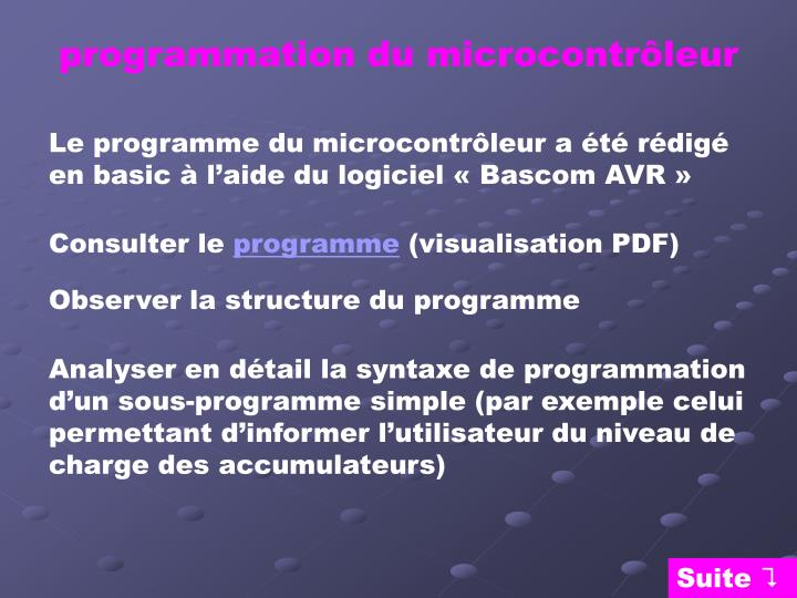 programmation du microcontrôleur