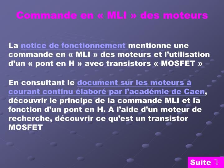 Commande en « MLI » des moteurs