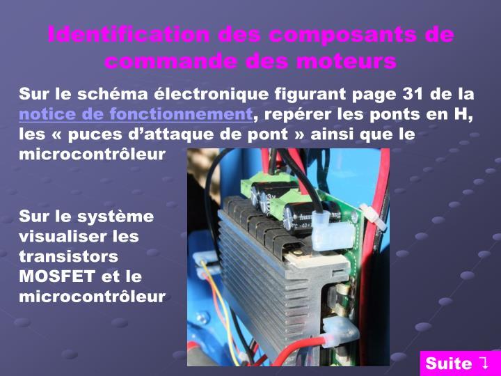 Identification des composants de commande des moteurs