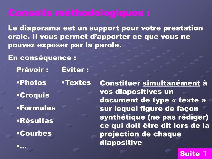 Conseils méthodologiques :