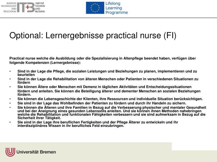 Optional: Lernergebnisse practical nurse (FI)