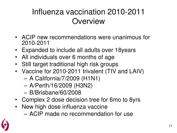 Influenza vaccination 2010-2011 Overview