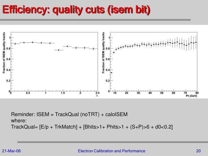 Efficiency: quality cuts (isem bit)
