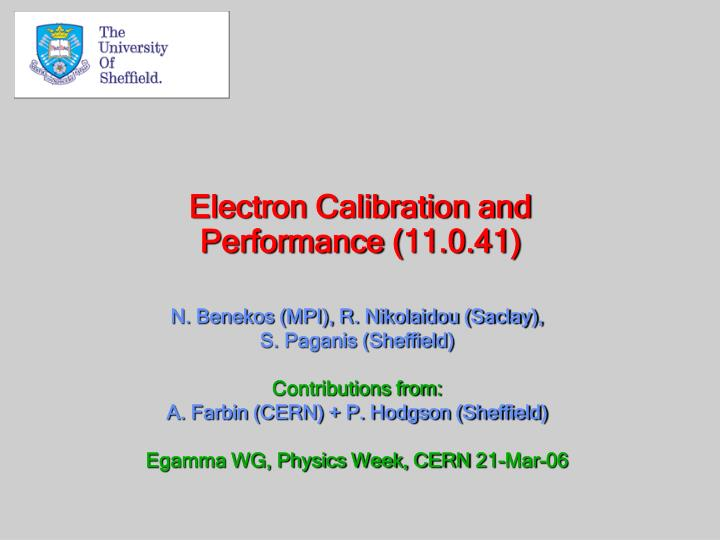 electron calibration and performance 11 0 41