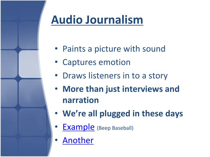 Audio journalism