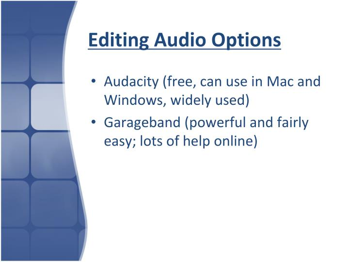 Editing Audio Options