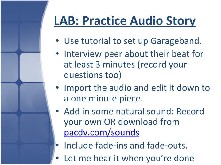 LAB: Practice Audio Story