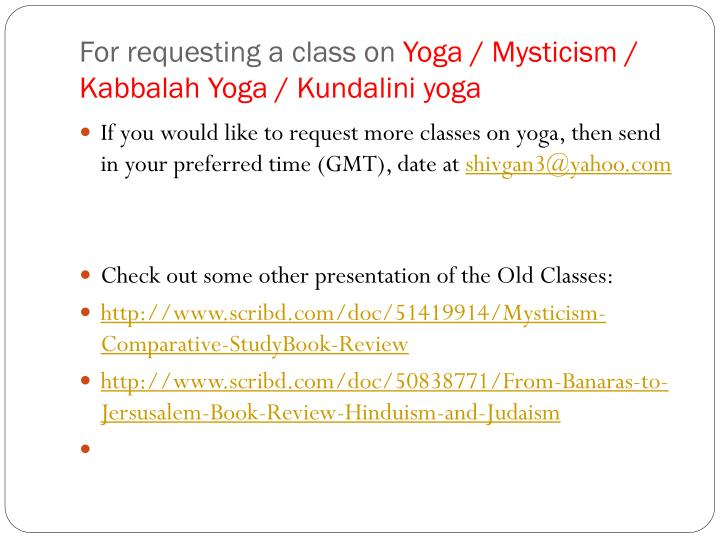 For requesting a class on