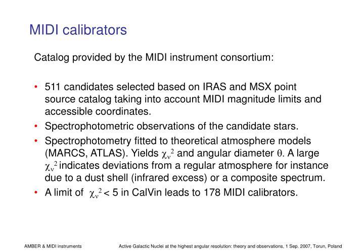 MIDI calibrators