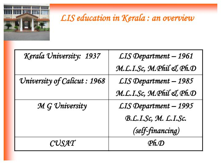 Lis education in kerala an overview
