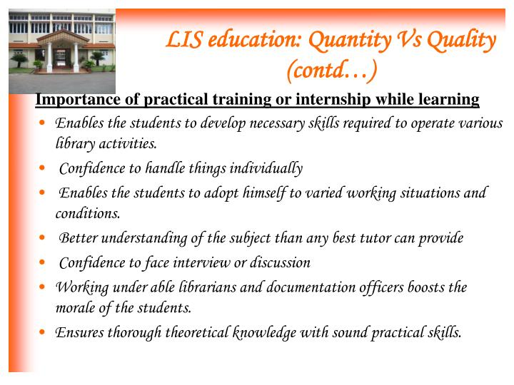 Importance of practical training or internship while learning