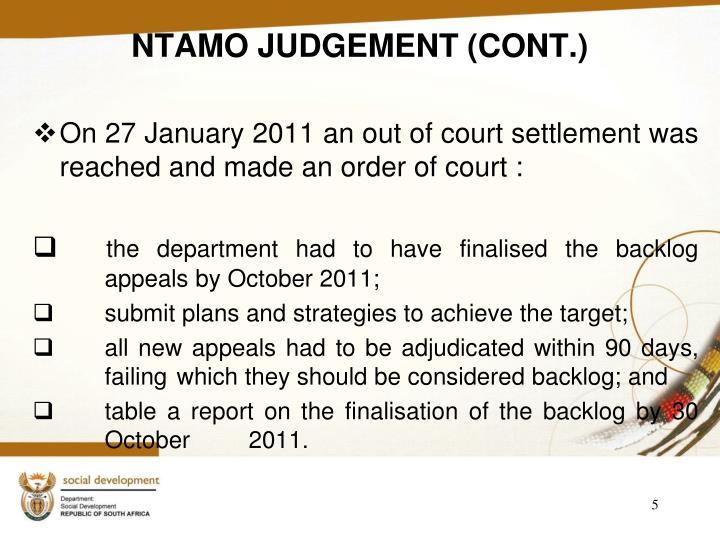 NTAMO JUDGEMENT (CONT.)