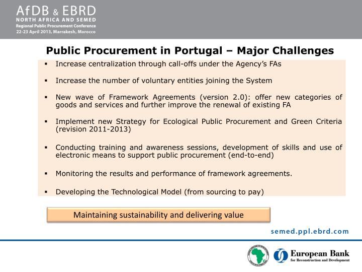 Public Procurement in Portugal – Major Challenges