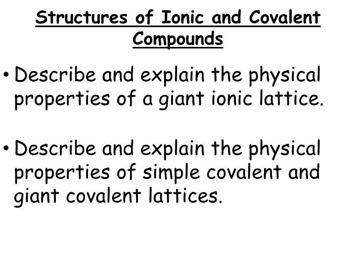 Structures of Ionic and Covalent Compounds
