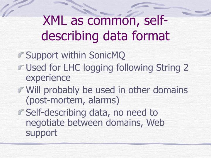 XML as common, self-describing data format