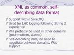 xml as common self describing data format