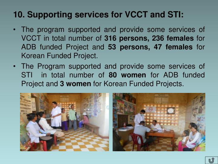 10. Supporting services for VCCT and STI: