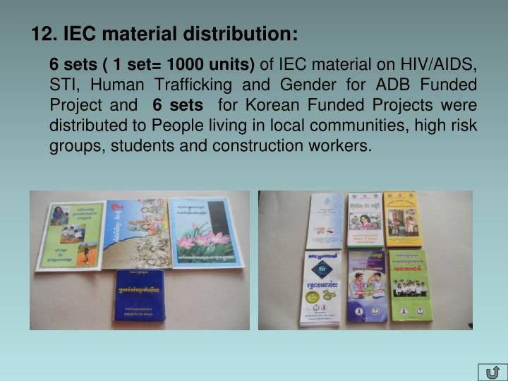 12. IEC material distribution:
