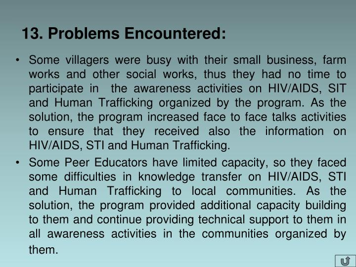 13. Problems Encountered:
