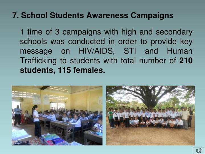 7. School Students Awareness Campaigns