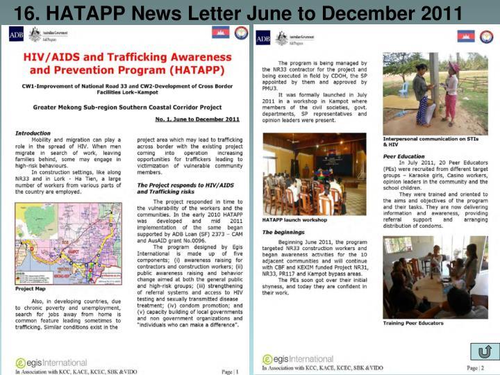 16. HATAPP News Letter June to December 2011