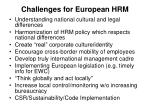 challenges for european hrm