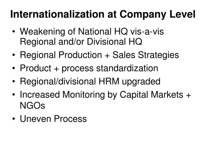 Internationalization at Company Level