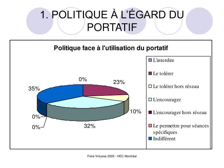1. POLITIQUE À L'ÉGARD DU PORTATIF