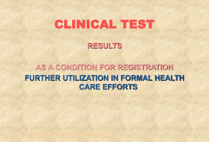 CLINICAL TEST
