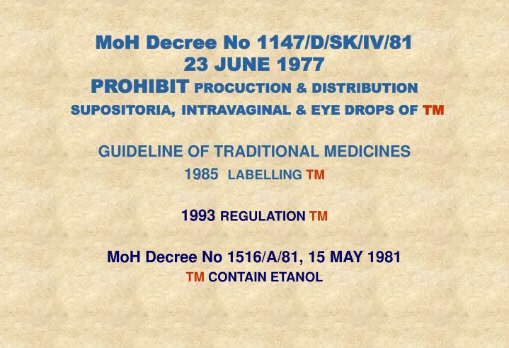 MoH Decree No 1147/D/SK/IV/81