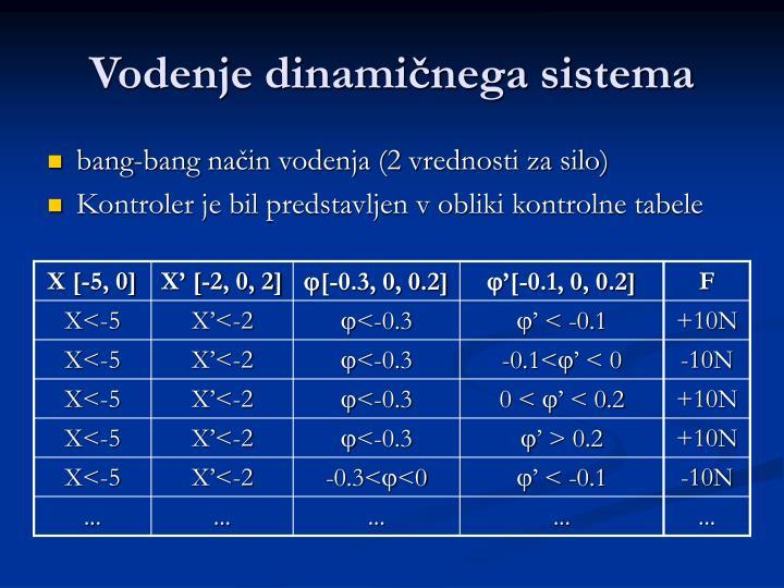 Vodenje dinamičnega sistema