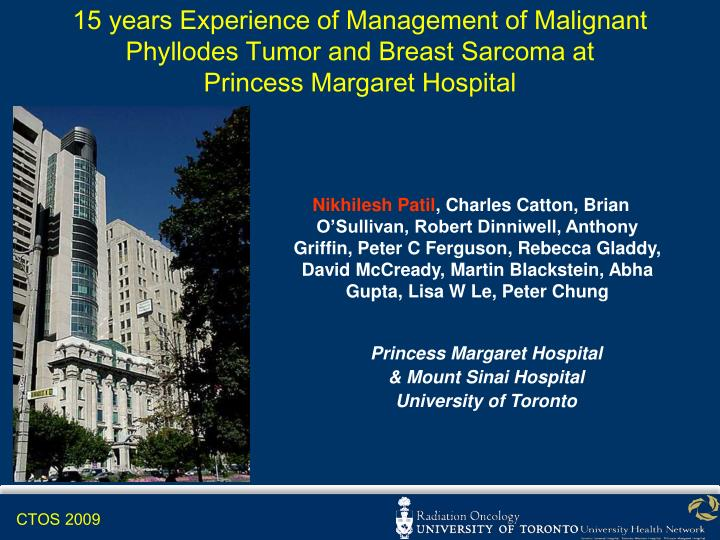 15 years Experience of Management of Malignant Phyllodes Tumor and Breast Sarcoma at