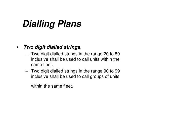 Dialling Plans