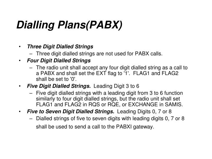 Dialling Plans(PABX)