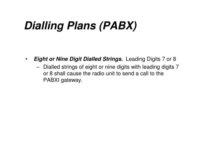 Dialling Plans (PABX)