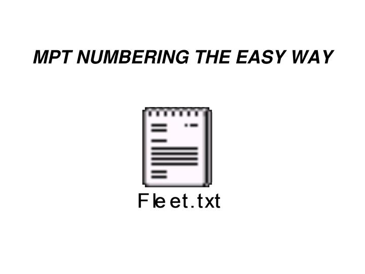 MPT NUMBERING THE EASY WAY