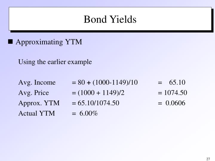 Approximate Yield to Maturity