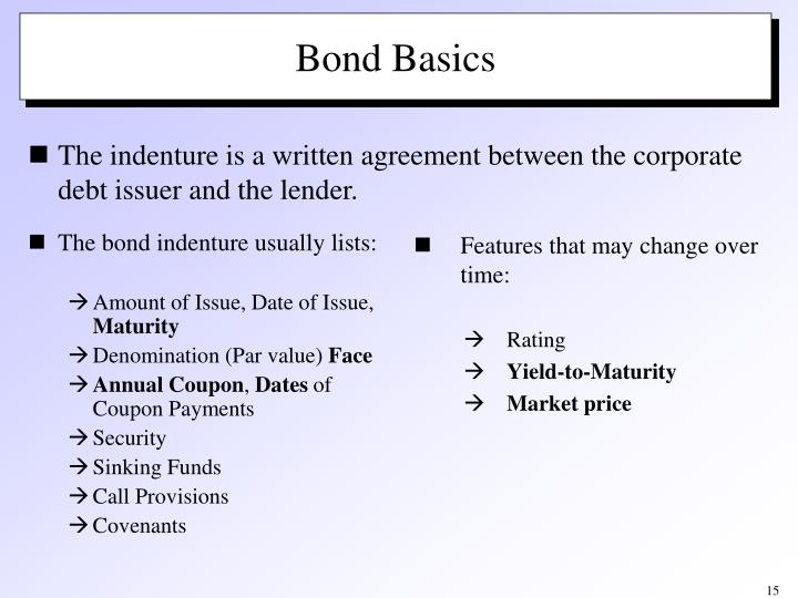 The bond indenture usually lists:
