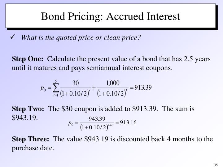 Bond Pricing: Accrued Interest
