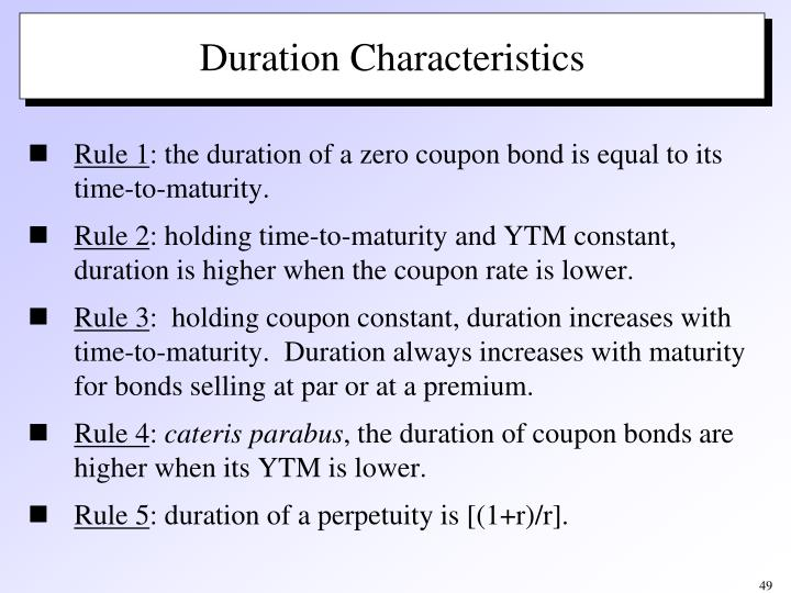 Duration Characteristics