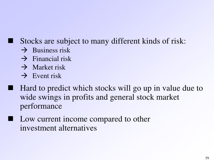 Stocks are subject to many different kinds of risk: