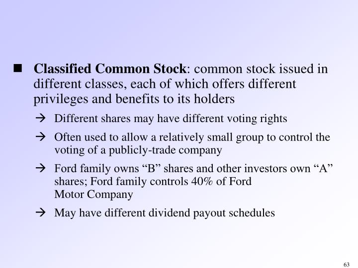 Classified Common Stock