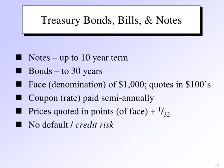 Treasury Bonds, Bills, & Notes