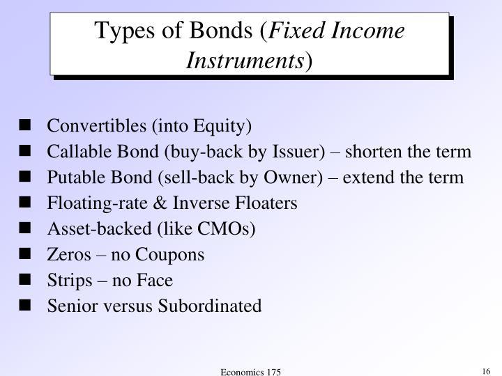Types of Bonds (