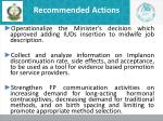 recommended actions1