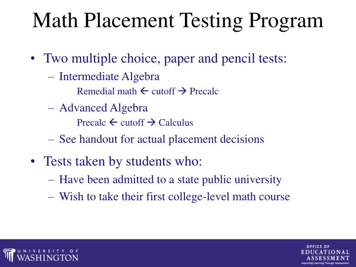 Math Placement Testing Program