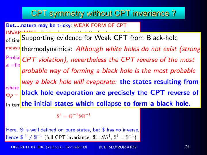 CPT symmetry without CPT invariance ?