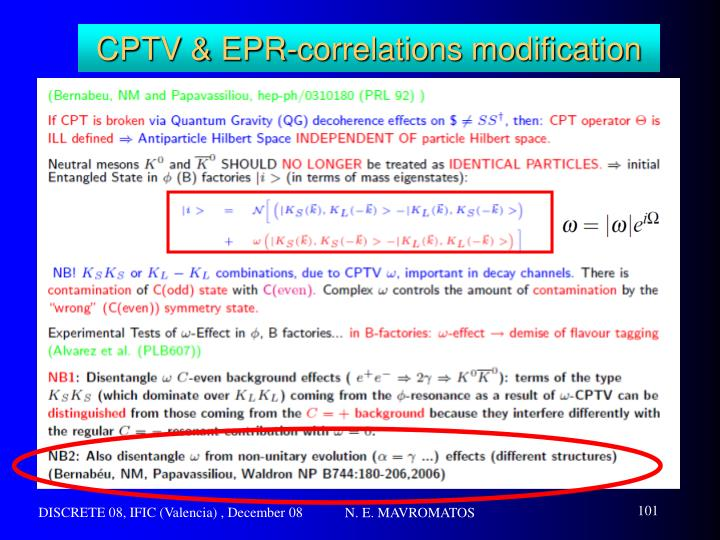 CPTV & EPR-correlations modification