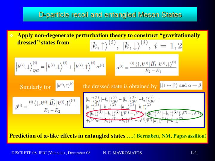D-particle recoil and entangled Meson States